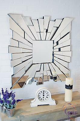 3Ft 90cm Square Multi Glass Starburst Wall Mirror