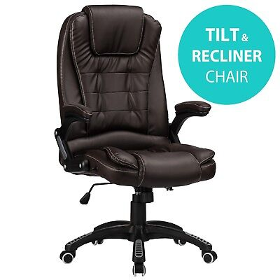 RayGar Brown Reclining Office Chair Executive Home Swivel PC Computer Desk Chair