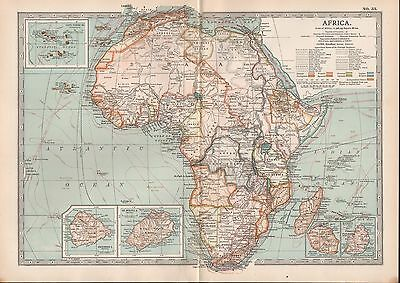 1903 Britannica Antique Map Africa St Helena Ascension