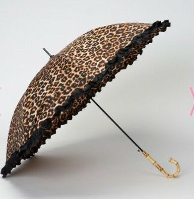 LINDY BOP 'Bamboo Leopard Print Umbrella Frilled Canopy Automatic Button Release