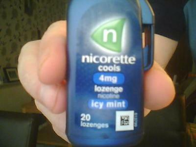 Nicotine Lozenges. Nicorette Cools. Icy Mint. 4 Mg. 20 in each carton.