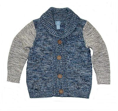 Baby Gap cardigan sweater 2-tone blue/gray button knit toddler boys 3T  NWT