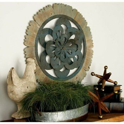 Large Decorative Rustic Country Wood Metal Wall Panel Art Sculpture Home  Decor
