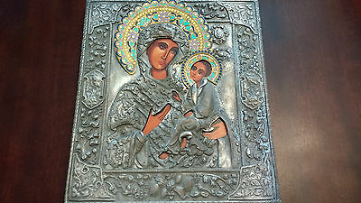 RARE Russian Orthodox ICON with Enamel in Silver plated FRAME hand-painted