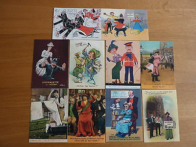 10 CARTOON SUFFRAGETTE POSTCARDS (free postage)