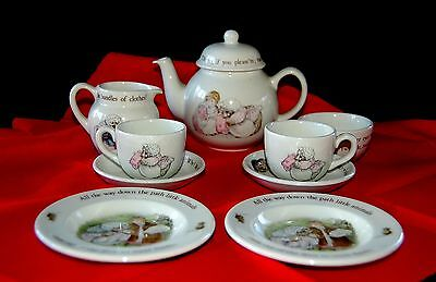 RARE HTF Wedgwood Beatrix Potter Mrs Tiggy Winkle 10 pc. Tea Set Excellent