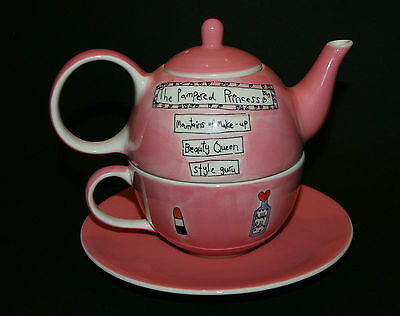 WHITTARD OF CHELSEA - TEAPOT CUP AND SAUCER - PAMPERED PRINCESS by BETH