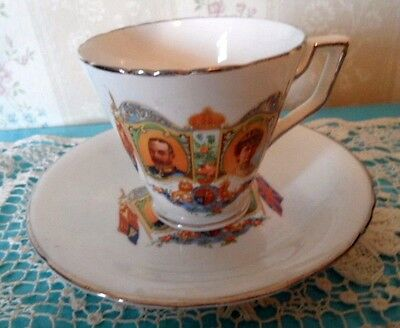 1935 Royalty King George Vi & Mary Silver Jubilee Cup & Saucer