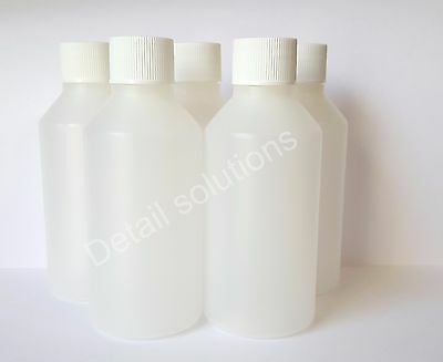 5 Empty 100ml bottles clear Plastic HDPE with white ribbed screw cap top