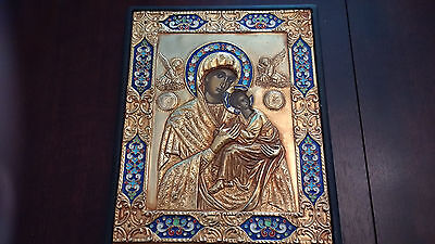 Rare Antique Religious Icon Enamel Coated with Gold Plated Frame