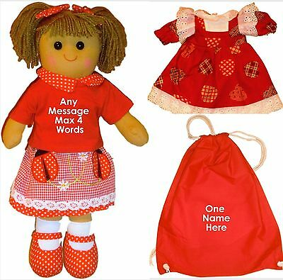 Personalised Rag Doll Birthday Christening Flower Girl Ladybird Gift Bag & Dress