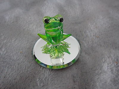 Glass Baron Frog On Mirror Figurine Nib