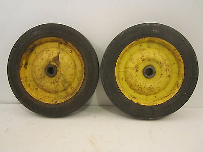 "Pair Of Old Wheels Antique Garden Cart Wagon Hard Rubber Wheels 10"" Rusty Decor"