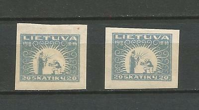 Lithuania Litauen 1920 MH Mi 67 Sc 73 Second anniversary issue imperforated