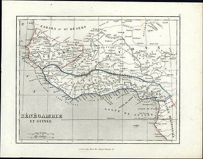 West Africa Guniea Senegal 1840's old engraved map by Binet Gold Slave coast