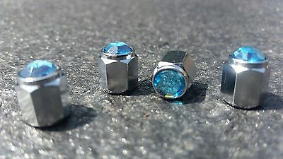 Aqua Blue Jewel Crystal Silver Diamond Tire alloys Valve Dust Caps x4 Car Bike