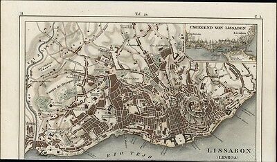 Lisbon Portugal city plan 1855 very detailed hand colored antique urban map