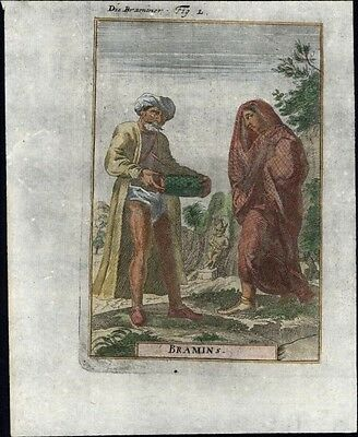 India natives Brahmins man & woman 1719 charming antique engraved ethnic print