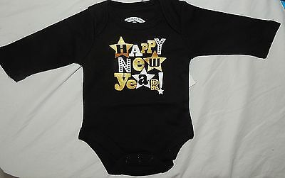 New Unisex Baby First Happy New Year Bodysuit One Piece Long Sleeve Black