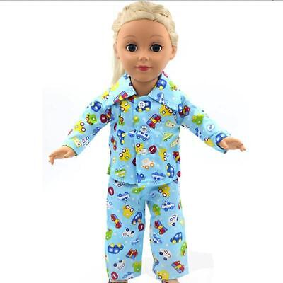"""Blue Pajamas PJS Nightgown Clothes for 18"""" Our Generation American Girl Doll"""