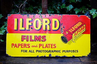 Old Ilford Films & Papers Photography Antique Vintage Enamel Advertising Sign