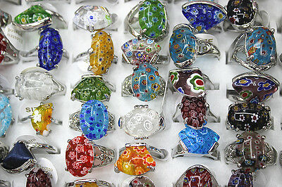 Newest Style lots 25pcs flower Glass Multicolor Fashion Silver Plated Women ring