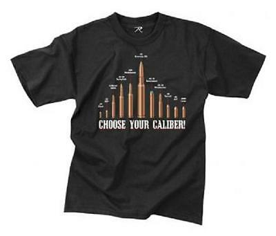 US VINTAGE BLACK ' CHOOSE YOUR CALIBER ' Bullet Military Army T-SHIRT shirt  L