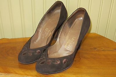Vintage 1950s La Patti Brown Suede Leather Womens 7 High Heel Shoes