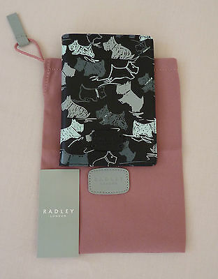 Radley Black Leather Passport Cover - 'Doodle Dog' - RRP £35 - NEW
