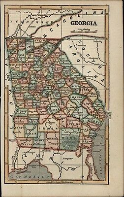 Georgia state by itself c.1855 scarce cerographic antique map hand color lovely