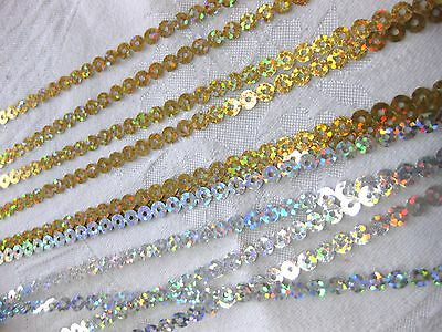 5m sequin Band,Trims/ per Meter/ in gold or silver,to Iron on R16