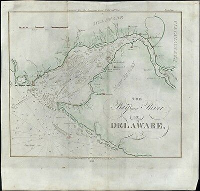 Bay & River Delaware Cape Henry New Jersey PA 1841 Blunt nautical coast chart