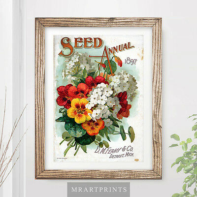 VINTAGE FLOWERS Art Print Poster Red Yellow Orange Floral Bouquet Home Decor