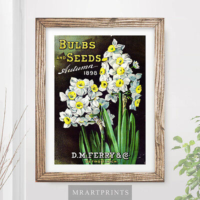 VINTAGE FLOWERS Art Print Poster Yellow Floral Victorian Advertisement Green