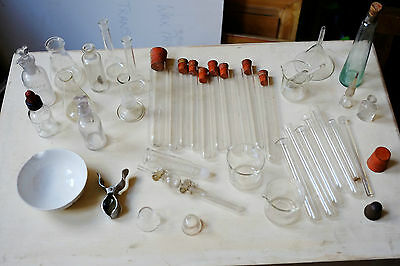 Large Collection of Vintage Antique Handblown & other Chemistry Glassware