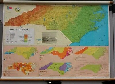 Vintage Nystrom Political North Carolina Pull Down Map classroom school map