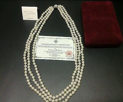 NECKLACE GLASS FAUX PEARLS fashioned after Jackie Kennedy case /certificate