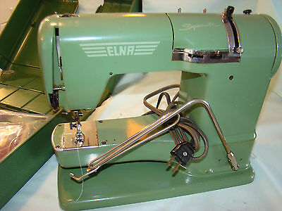 Vintage Swiss Elna Supermatic Sewing Machine With Case