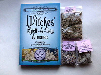 WITCHES 2017 Spell a Day + Damiana + White Sage Smudge Lavender LOT Wicca Pagan