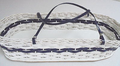 Retro Plastic Woven Dolls Basket Doll Carry Basket with handles Blue and White