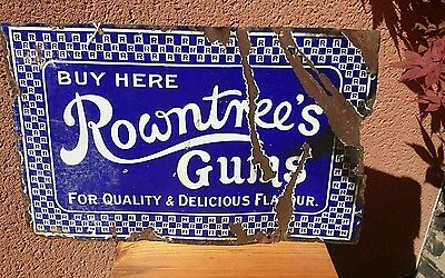 Enamelled Old Advertising Sign  Rowntrees Gums
