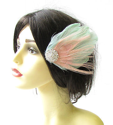 Mint Green Blush Pink Silver Peacock Feather Fascinator Vtg Hair Clip Races 1404