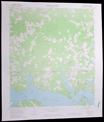 Gasburg Virginia North Carolina Lake Gaston vintage 1980 old USGS Topo chart