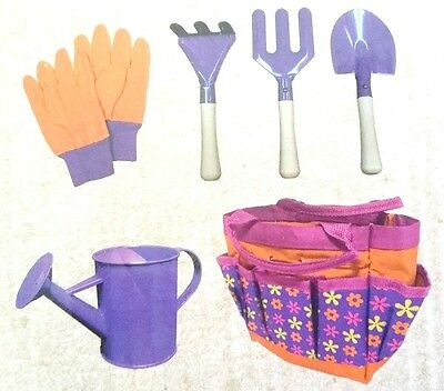 Kids Gardening Set Wooden Metal 6Pc Children Garden Tools Spade Fork Bag Shovel