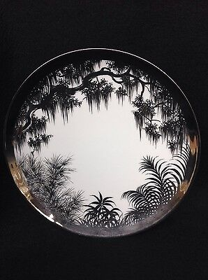 Olive Commons Platinum Palm Ware Miami FL Plate, Signed handpainted Rare Vintage