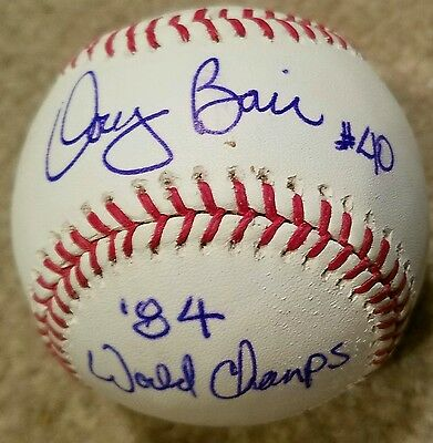 Doug Bair  Detroit Tigers Autographed OF ML baseball w Inscriptio 84Champ