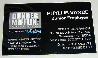 The Office Phyllis Vance Phyllis Smith Oversized Business Card Prop Dunder