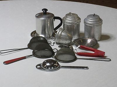 Vintage Lot of 10 Misc.  Tea Infusers & Strainers