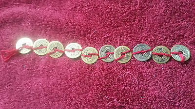 Set of 10 Smallest Coins of China Qing Dynasty Ten Emperors In Order.2.3cm