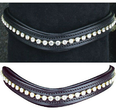 HKM Wave Diamante Curved Browband Black Or Brown Leather Pony Cob Full